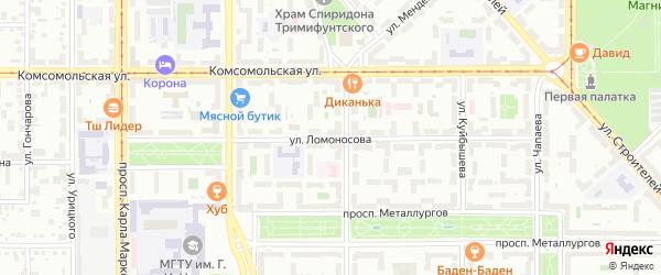 Улица Ломоносова на карте Магнитогорска с номерами домов