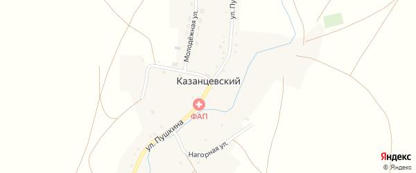 Нагорная улица на карте Казанцевского поселка с номерами домов