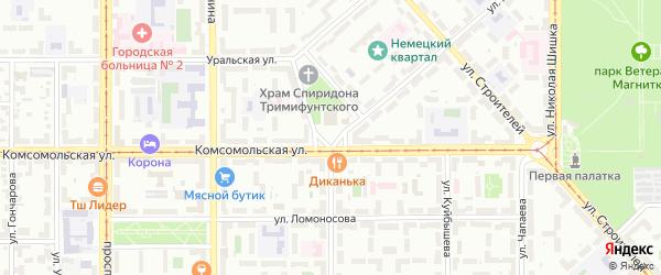 Площадь Горького на карте Магнитогорска с номерами домов