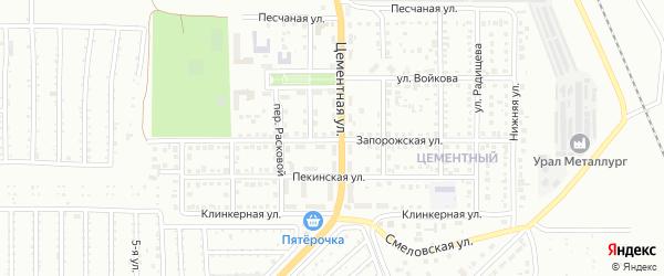 Запорожская улица на карте Магнитогорска с номерами домов