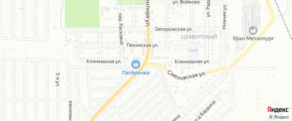 Клинкерная улица на карте Магнитогорска с номерами домов