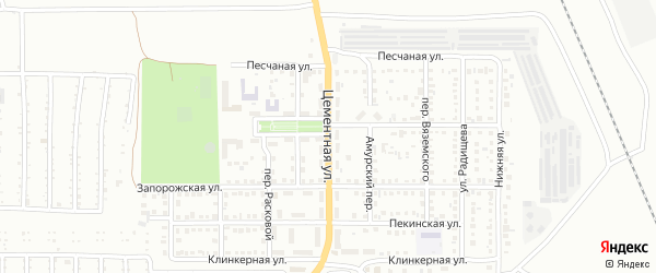 Цементная улица на карте Магнитогорска с номерами домов