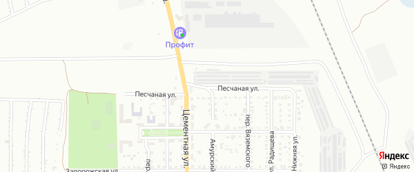 Песчаная улица на карте Магнитогорска с номерами домов