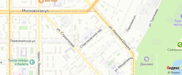Спартаковский переулок на карте Магнитогорска с номерами домов