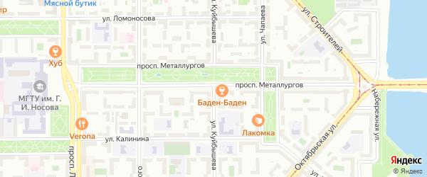 Улица Куйбышева на карте Магнитогорска с номерами домов