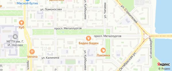 Проспект Металлургов на карте Магнитогорска с номерами домов