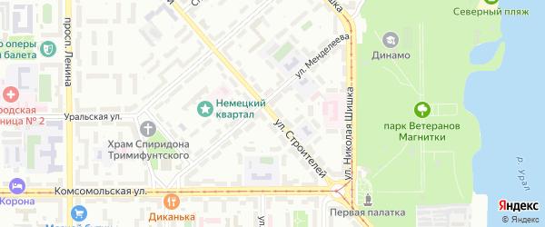 Улица Строителей на карте Магнитогорска с номерами домов