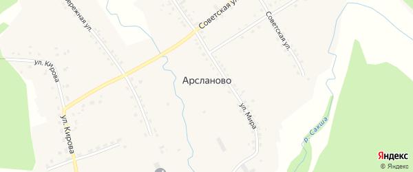 Улица Мингажева на карте села Арсланово с номерами домов