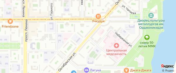 Октябрьская улица на карте Магнитогорска с номерами домов