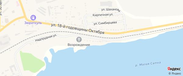 Надпрудная улица на карте Сатки с номерами домов