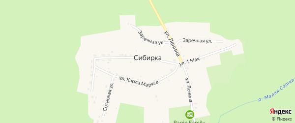 Лесная улица на карте поселка Сибирки с номерами домов