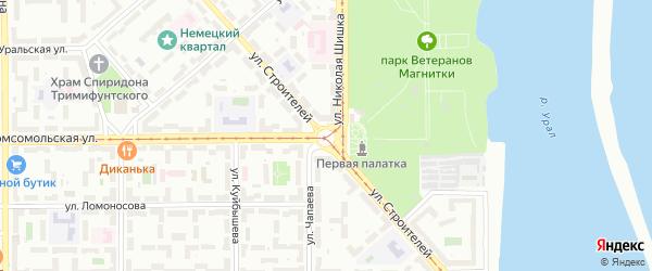 Площадь Свердлова на карте Магнитогорска с номерами домов
