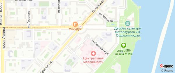 Набережная улица на карте Магнитогорска с номерами домов