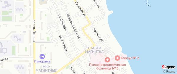 Станичный переулок на карте Магнитогорска с номерами домов