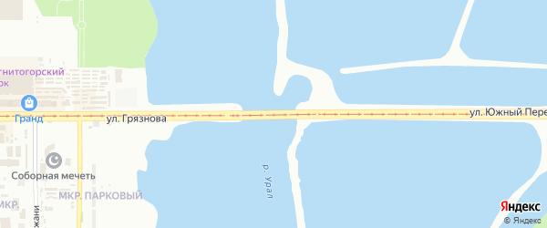 Улица Южный переход на карте Магнитогорска с номерами домов