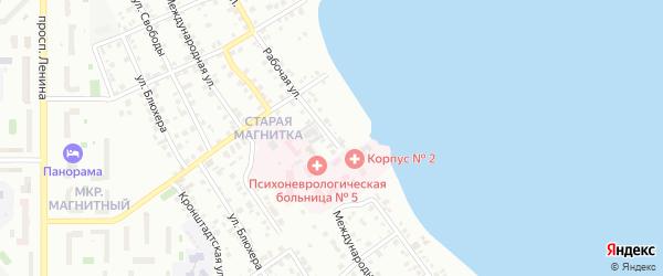 Рабочая улица на карте Магнитогорска с номерами домов