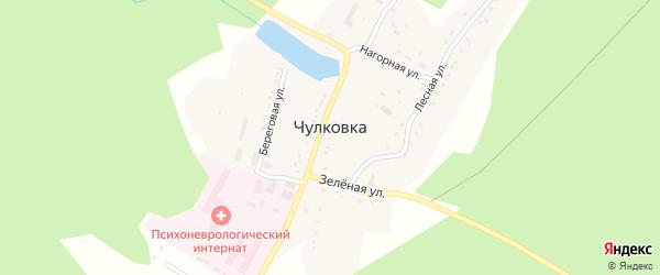 Зеленая улица на карте поселка Чулковки с номерами домов