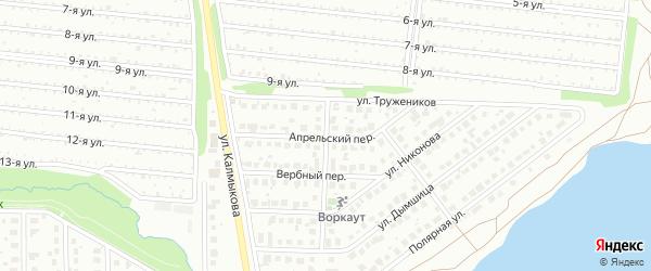 Апрельский переулок на карте Магнитогорска с номерами домов