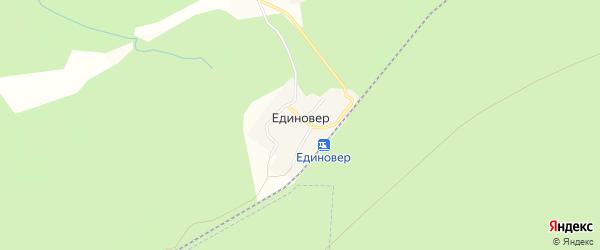 Карта поселка Единовера в Челябинской области с улицами и номерами домов