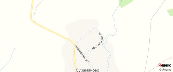 Молодежная улица на карте деревни Сураманово с номерами домов