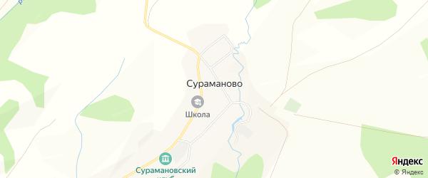 Карта деревни Сураманово в Башкортостане с улицами и номерами домов