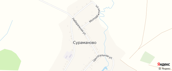 Набережная улица на карте деревни Сураманово с номерами домов