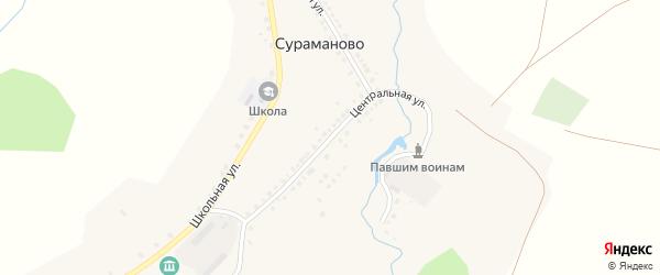 Центральная улица на карте деревни Сураманово с номерами домов