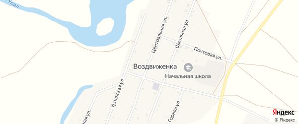 Центральная улица на карте поселка Воздвиженки с номерами домов