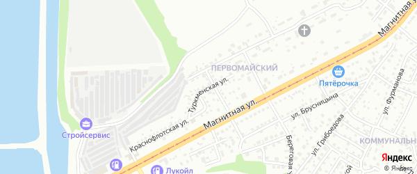Туркменская улица на карте Магнитогорска с номерами домов