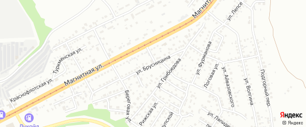 Улица Брусницына на карте Магнитогорска с номерами домов