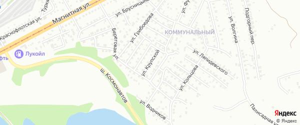 Улица Крупской на карте Магнитогорска с номерами домов