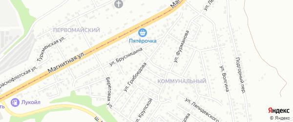 Улица Грибоедова на карте Магнитогорска с номерами домов