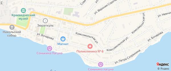 Комсомольская улица на карте Сатки с номерами домов