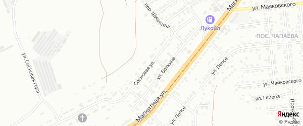 Сосновая улица на карте Магнитогорска с номерами домов