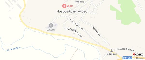Набережная улица на карте деревни Новобайрамгулово с номерами домов