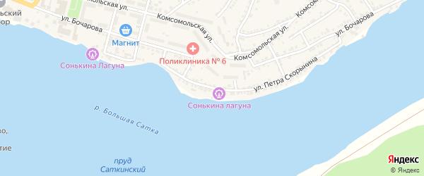 Улица Петра Скорынина на карте Сатки с номерами домов