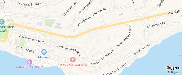 Южный ГСК на карте Сатки с номерами домов