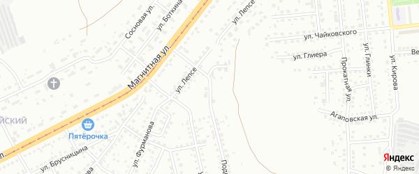 Овражный переулок на карте Магнитогорска с номерами домов