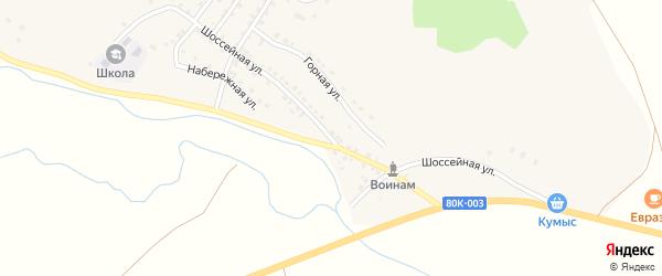 Шоссейная улица на карте деревни Новобайрамгулово с номерами домов