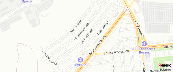 Улица Рысакова на карте Магнитогорска с номерами домов