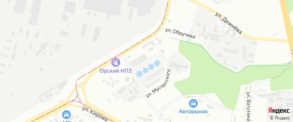 Улица Мусоргского на карте Магнитогорска с номерами домов