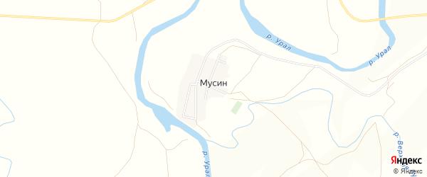 Карта поселка Мусина в Челябинской области с улицами и номерами домов