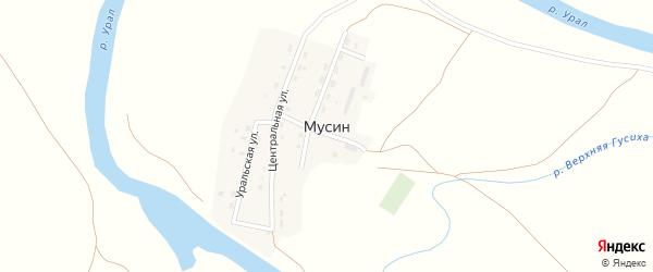 Центральная улица на карте поселка Мусина с номерами домов