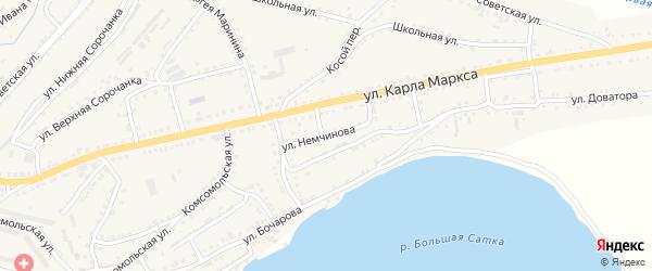 Улица Немчинова на карте Сатки с номерами домов