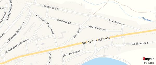 Косой переулок на карте Сатки с номерами домов