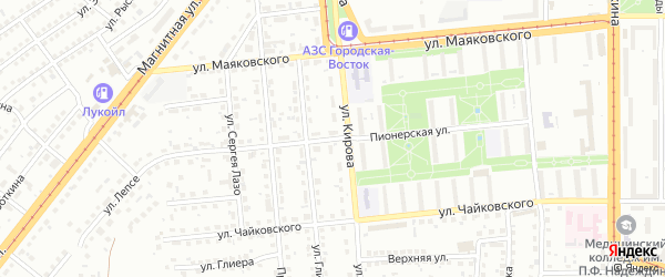Пионерская улица на карте Магнитогорска с номерами домов