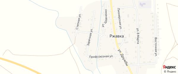Заречная улица на карте поселка Ржавки с номерами домов