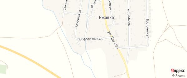 Профсоюзная улица на карте поселка Ржавки с номерами домов