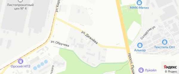 Улица Дежнева на карте Магнитогорска с номерами домов