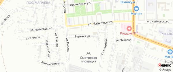 Верхняя улица на карте Магнитогорска с номерами домов